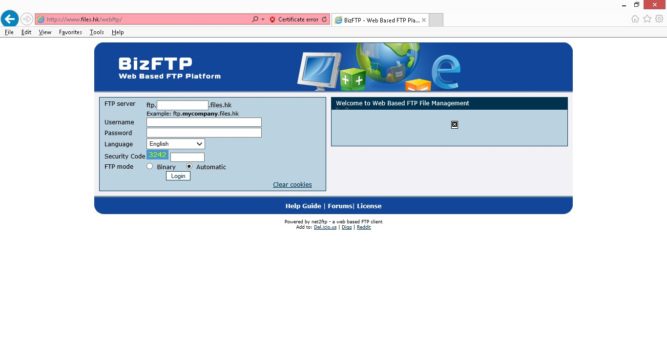How to use Web Based FTP connect to BizFTP server - Website