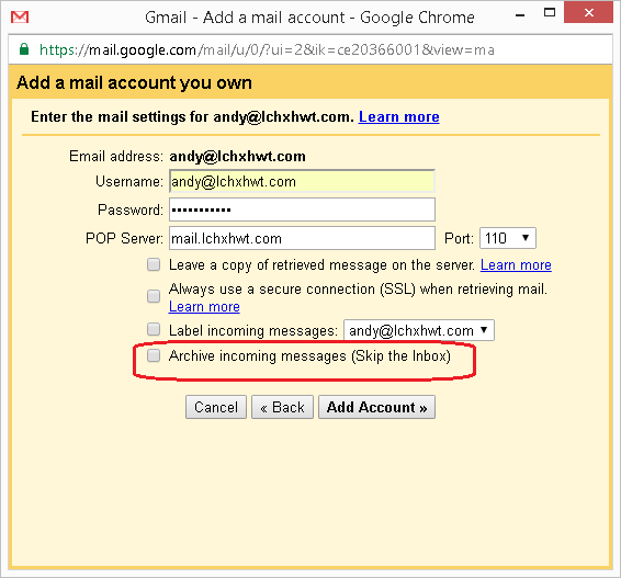 How to connect another email account in Google Gmail